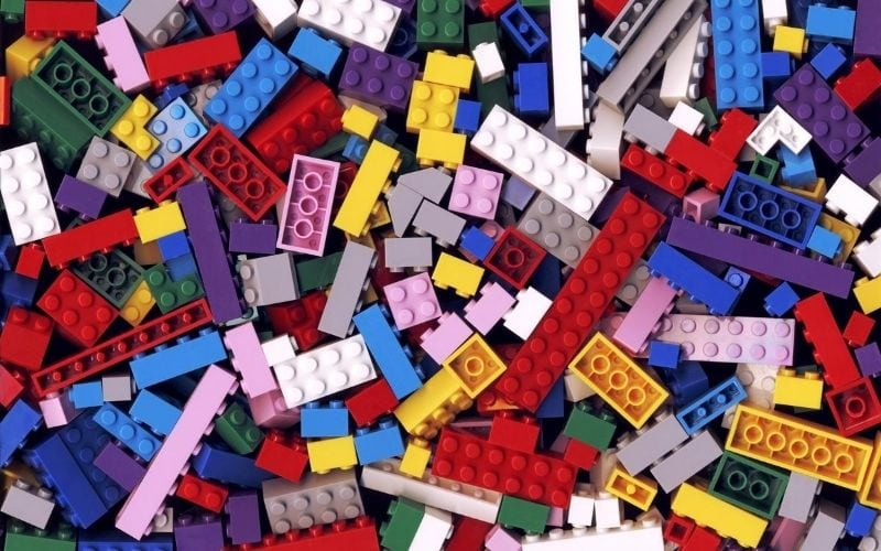 Piled legos in many colors.
