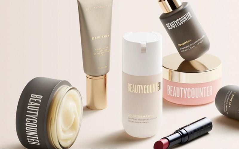 Beautycounter products on pink background.