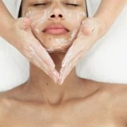 Woman getting O2 facial at spa.