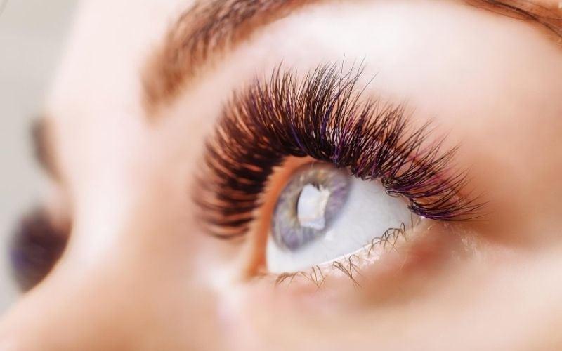 Woman's beautiful, long eye lashes.