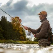 Man fly fishing in river.