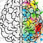 Sketch of brain with half having math signs and half with colors.