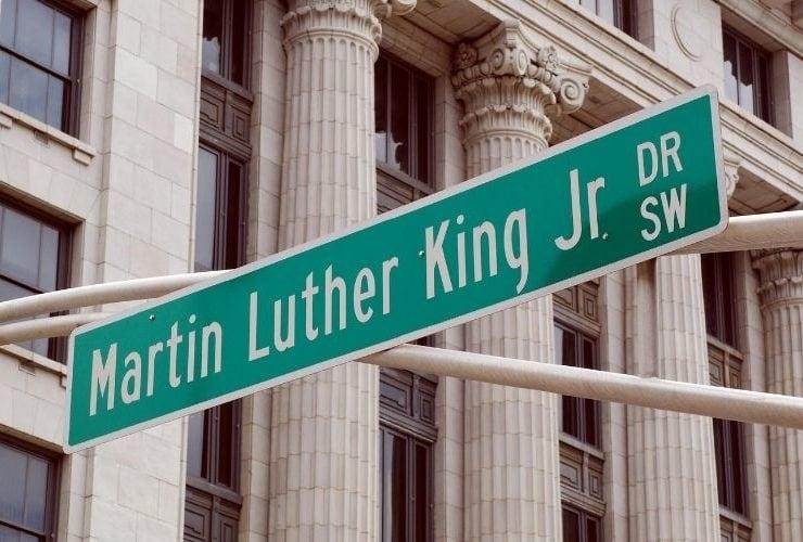"""Street sign named """"Martin Luther King Jr. Dr""""."""