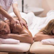 Couple enjoying a couple's massage.