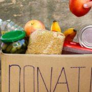 Donation box full of food.