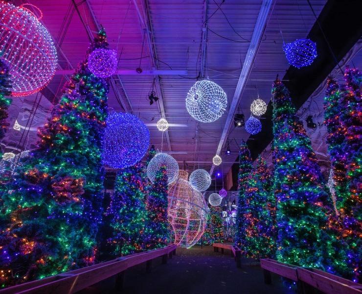 Christmas light show indoors.