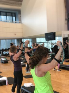 Resistance band exercises during the class