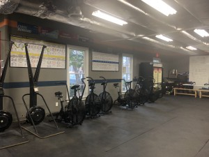 Assault AirBikes and various CrossFit equipment.