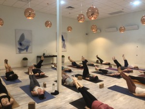 Core exercises in the warm yoga room.