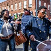 People playing music at Atlanta's black history month parade.