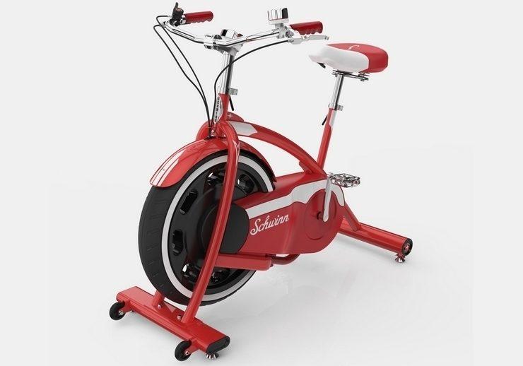 Schwinn's classic cruiser red exercise bike.