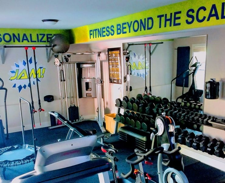 JAM Fitness's workout equipment in gym.