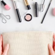Makeup bag with products spilling out.