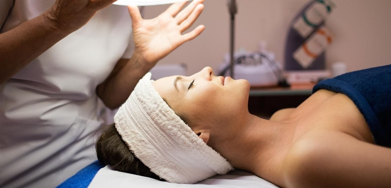 Woman about to get skin facial.