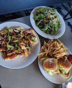 Kale salad, flatbread, sliders