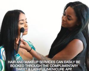 Client receiving makeup services