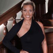 Michelle Falconer in black dress