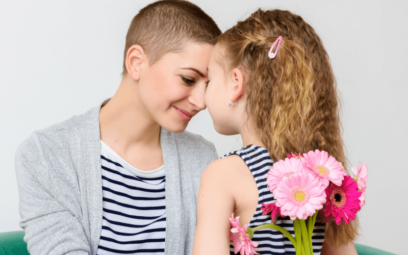 Breast cancer survivor with daughter
