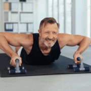 Middle age man doing pushups