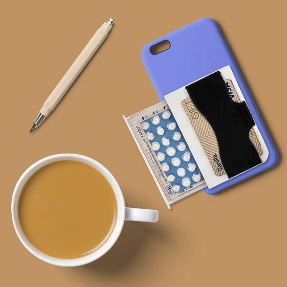 The BCase with coffee on brown background