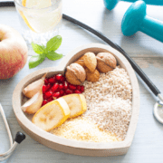 Heart bowl with healthy foods inside