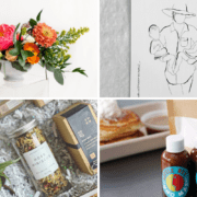 A bouquet, drawing, gift box, and pancake mix