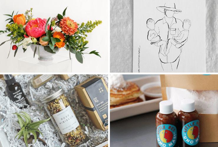 A bouquet, drawing, gift box, and pancake mix