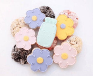 Pink purple and yellow flower cookies for Mother's Day