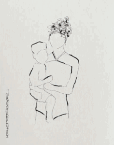 Mother with child sketch