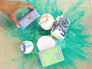 Several bath bombs and soaps