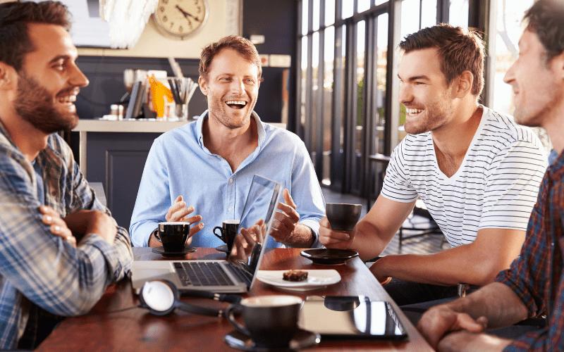 Men gathering in groups