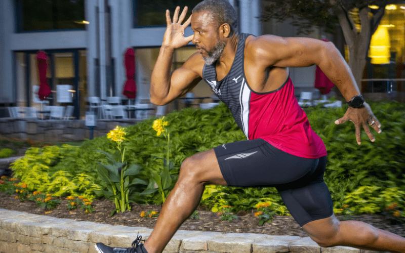 Tecumseh Peete mid sprint