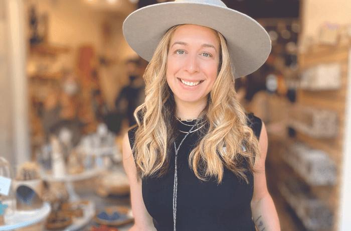 Kelley Knight in her shop Modern Mystic
